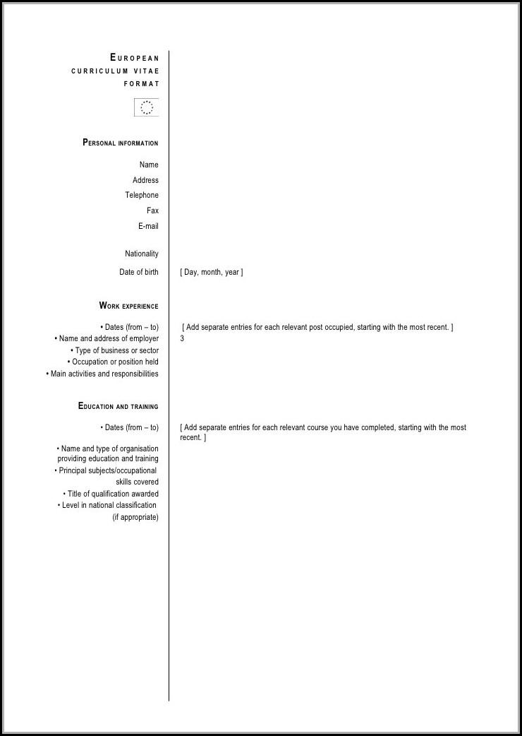 Downloadable Curriculum Vitae Format