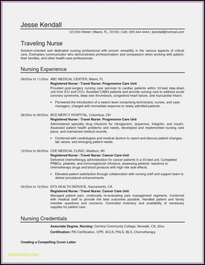 Downloadable Resume Template For Registered Nurse