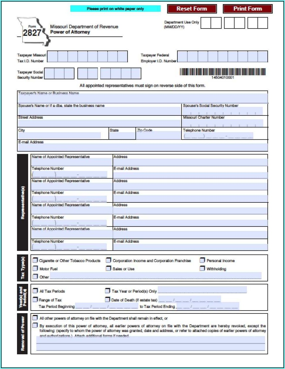Durable Power Of Attorney Form Missouri Financial