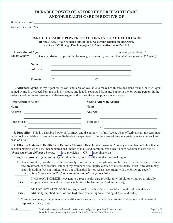 Durable Power Of Attorney Form Missouri Pdf