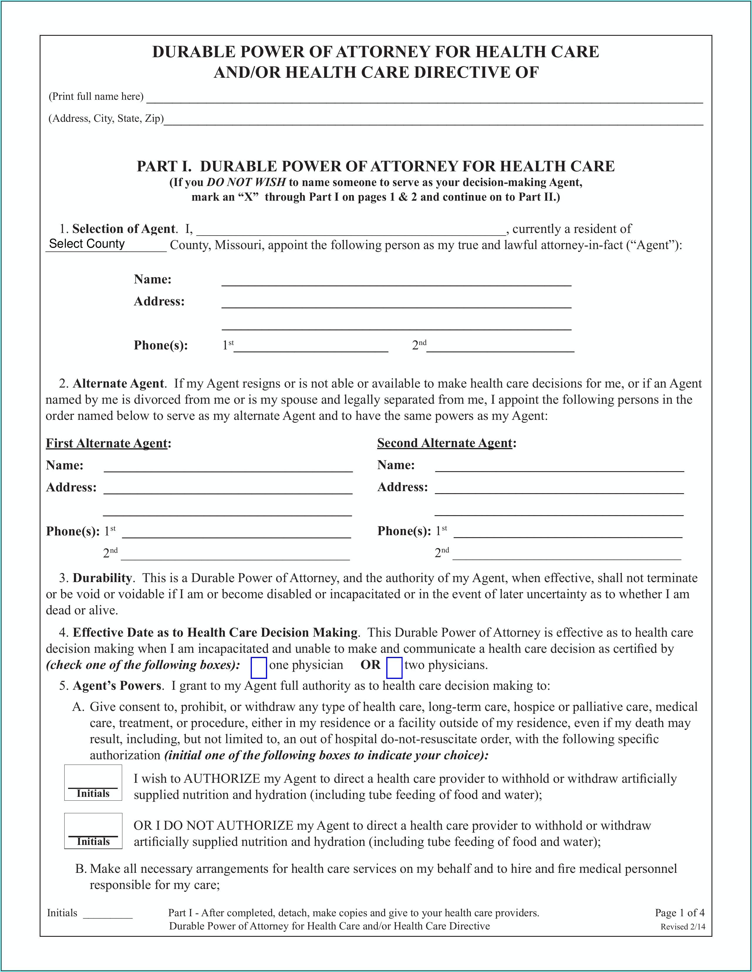 Durable Power Of Attorney Form Missouri Pdf