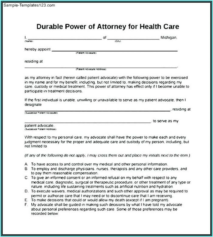 Durable Power Of Attorney Form Texas 2018