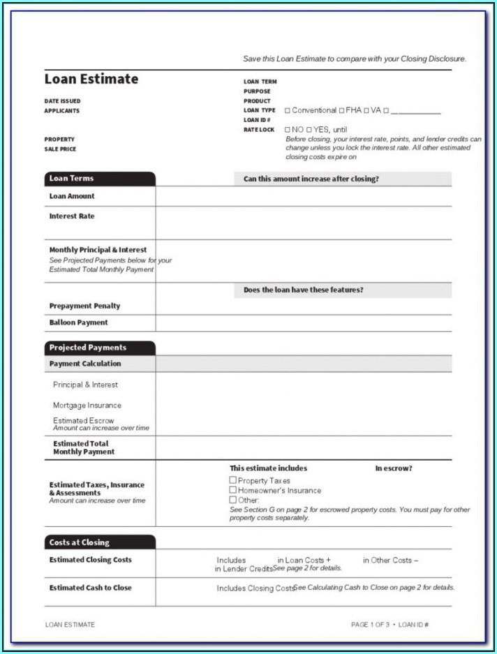 Editable Loan Estimate Form