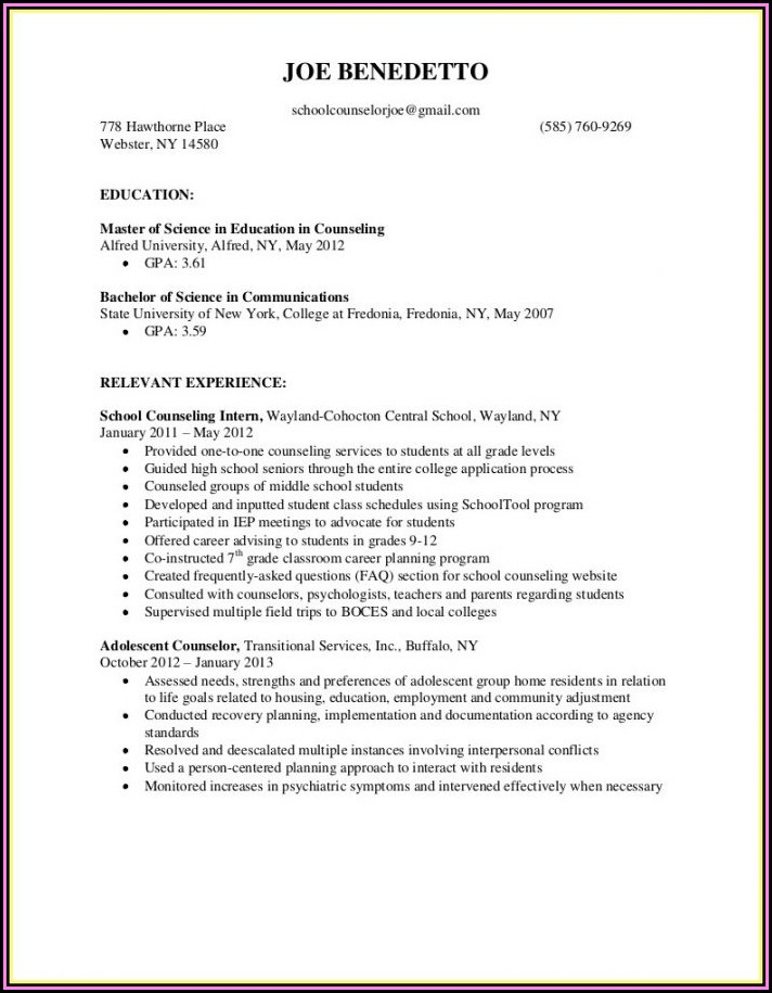 Education Counselor Resume Template