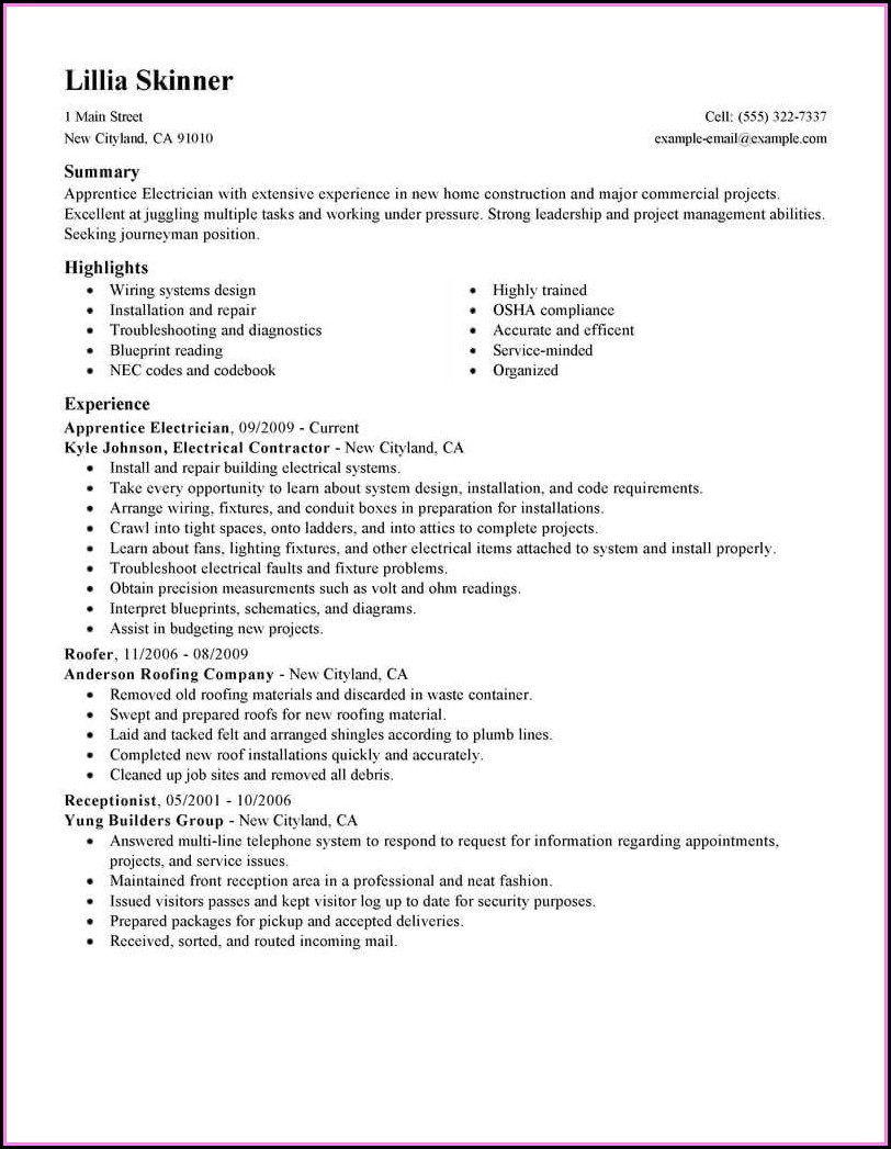 Electrician Apprenticeship Resume Templates