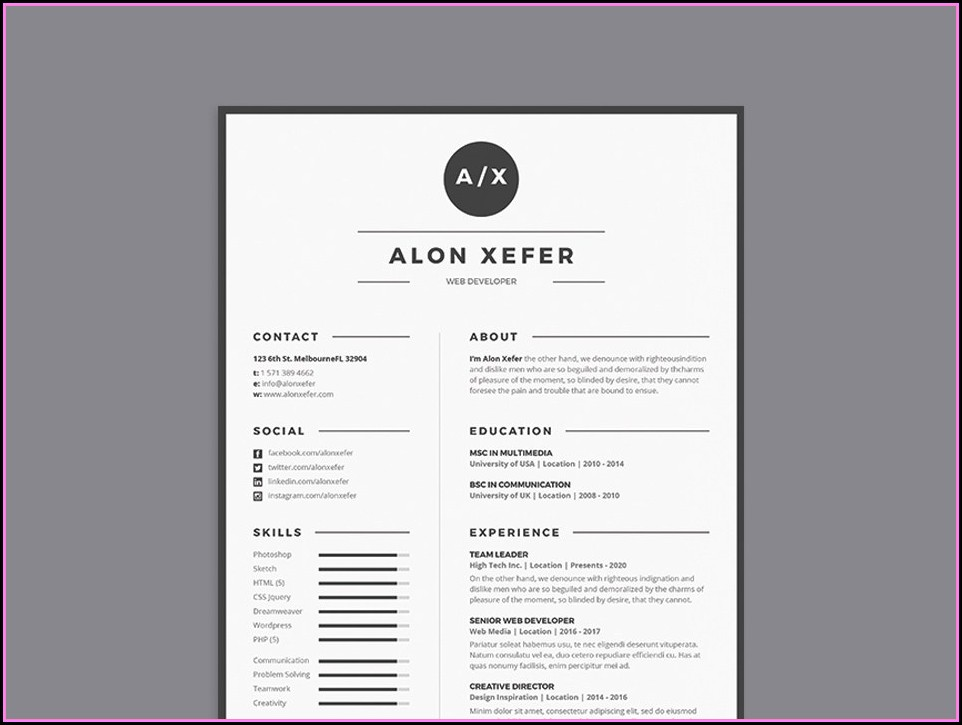 Elegant Resume Template Free
