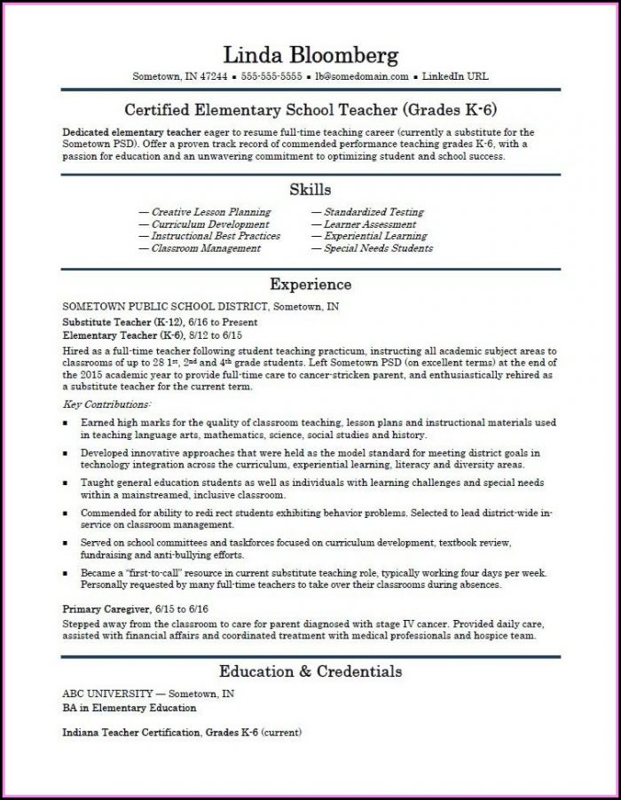 Elementary School Teacher Resume Template