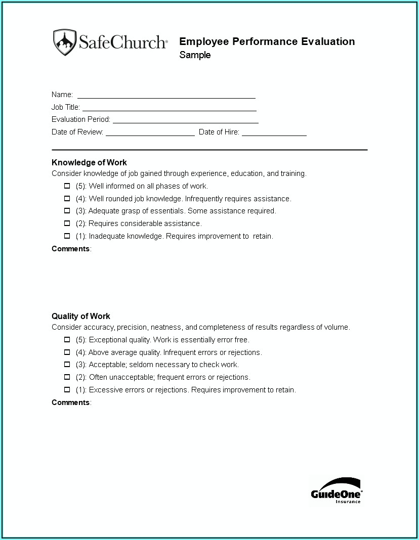 Employee Evaluation Form Template Free Download
