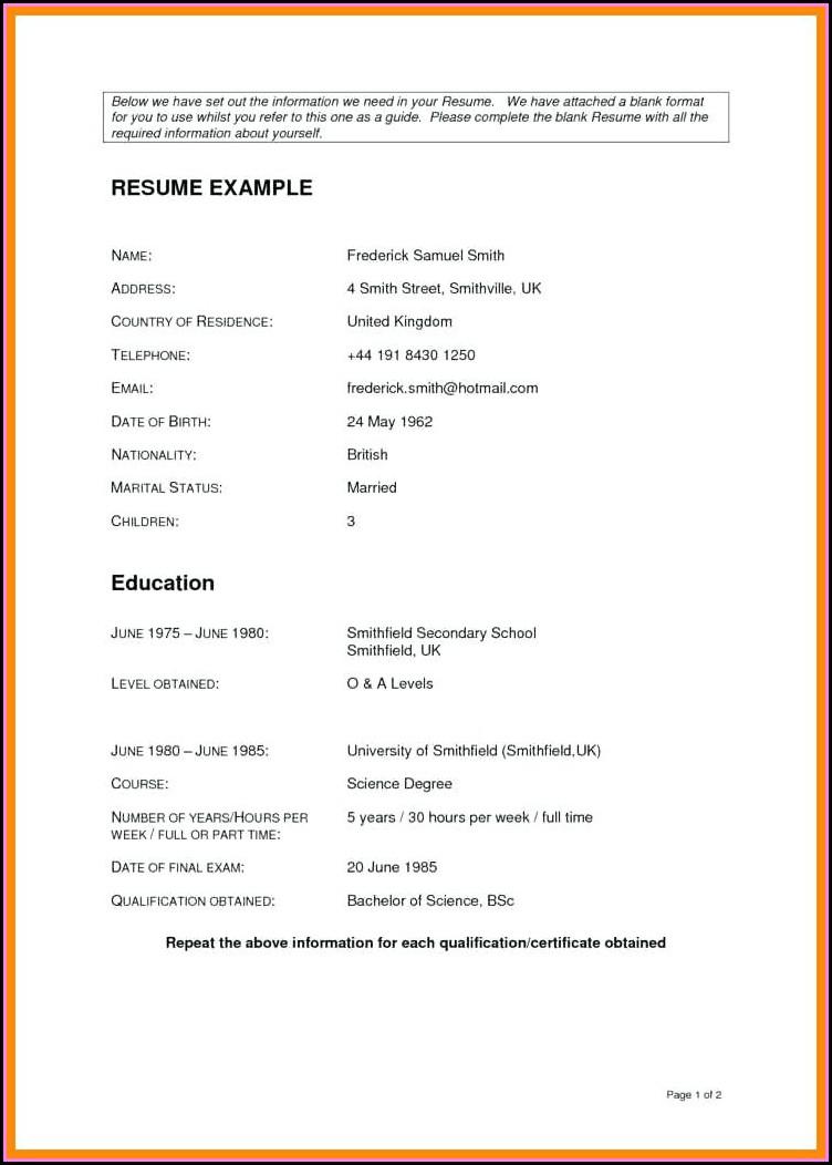 Empty Resume Format Download
