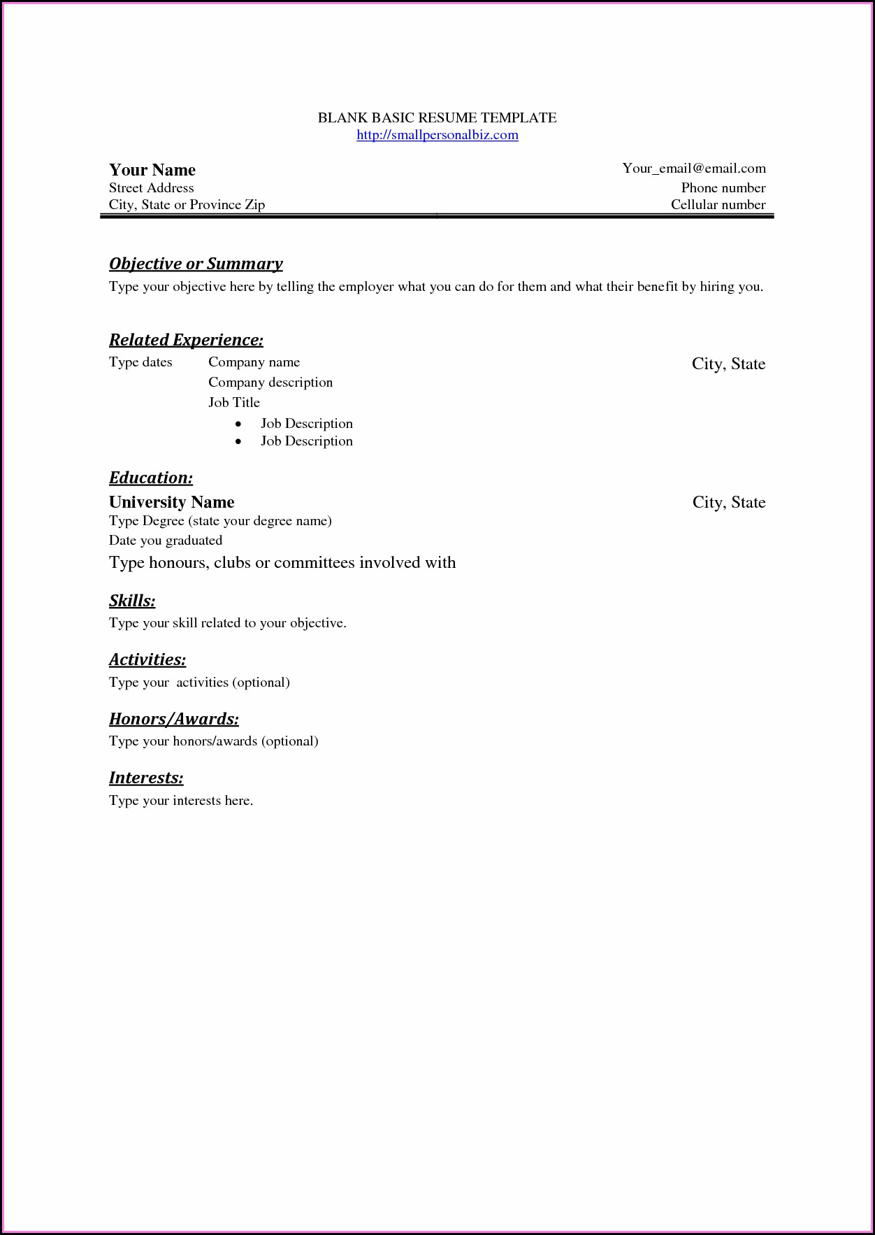 Empty Resume Format For Freshers