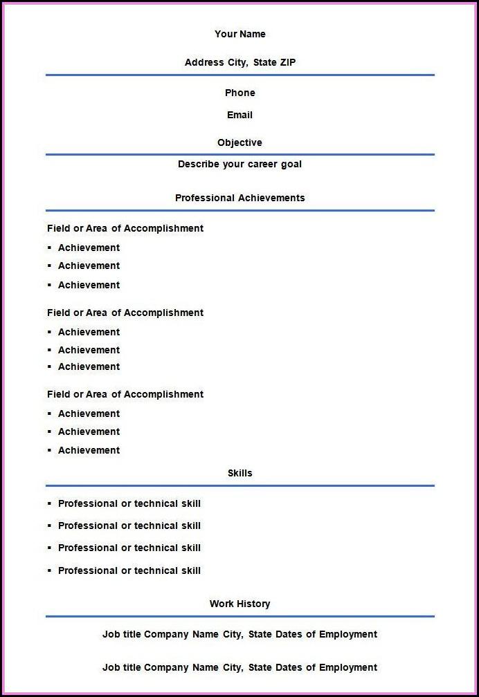 Empty Resume Format