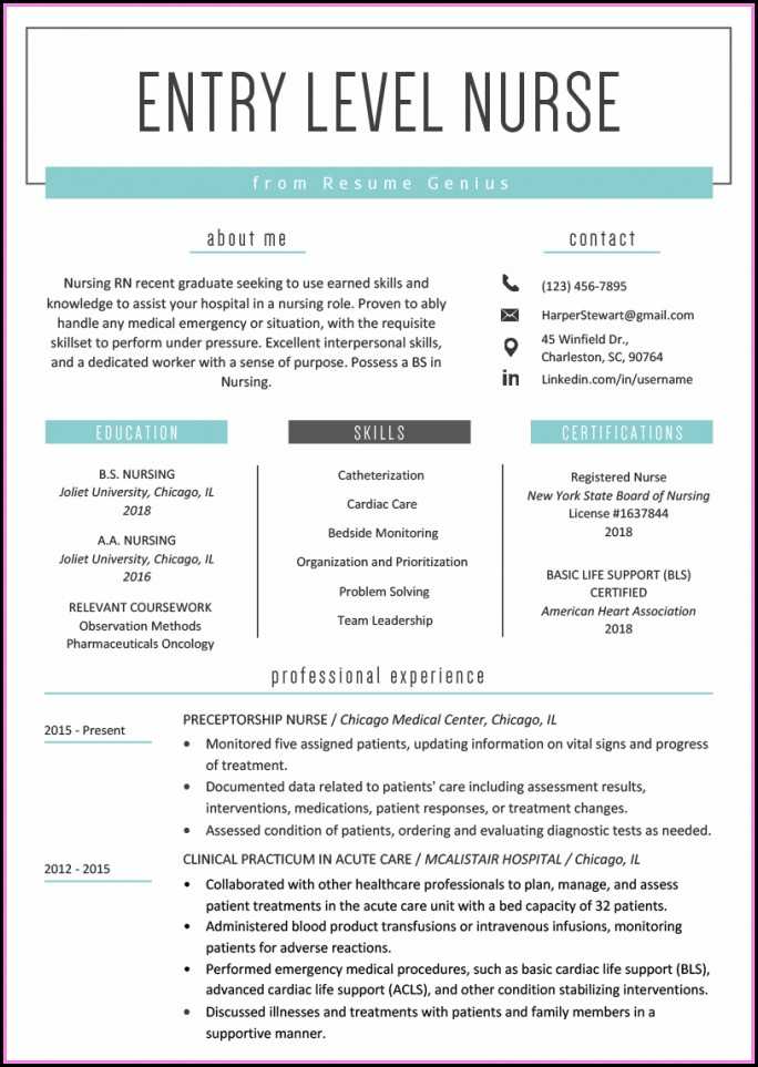 Entry Level Resume Templates 2018