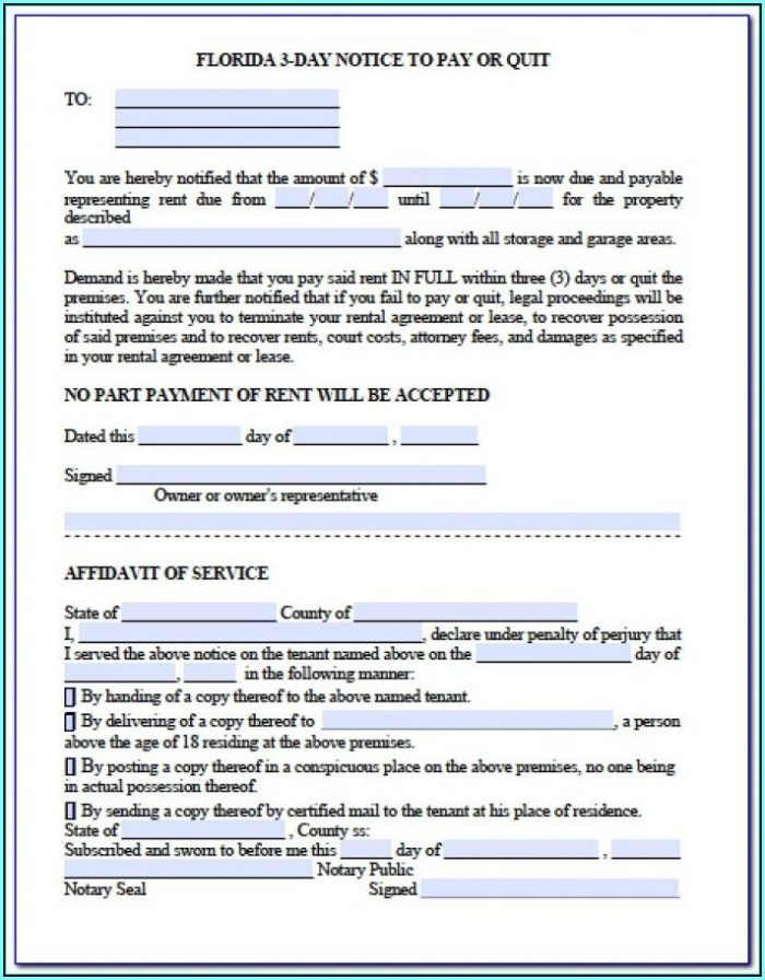 Eviction Notice Form Florida