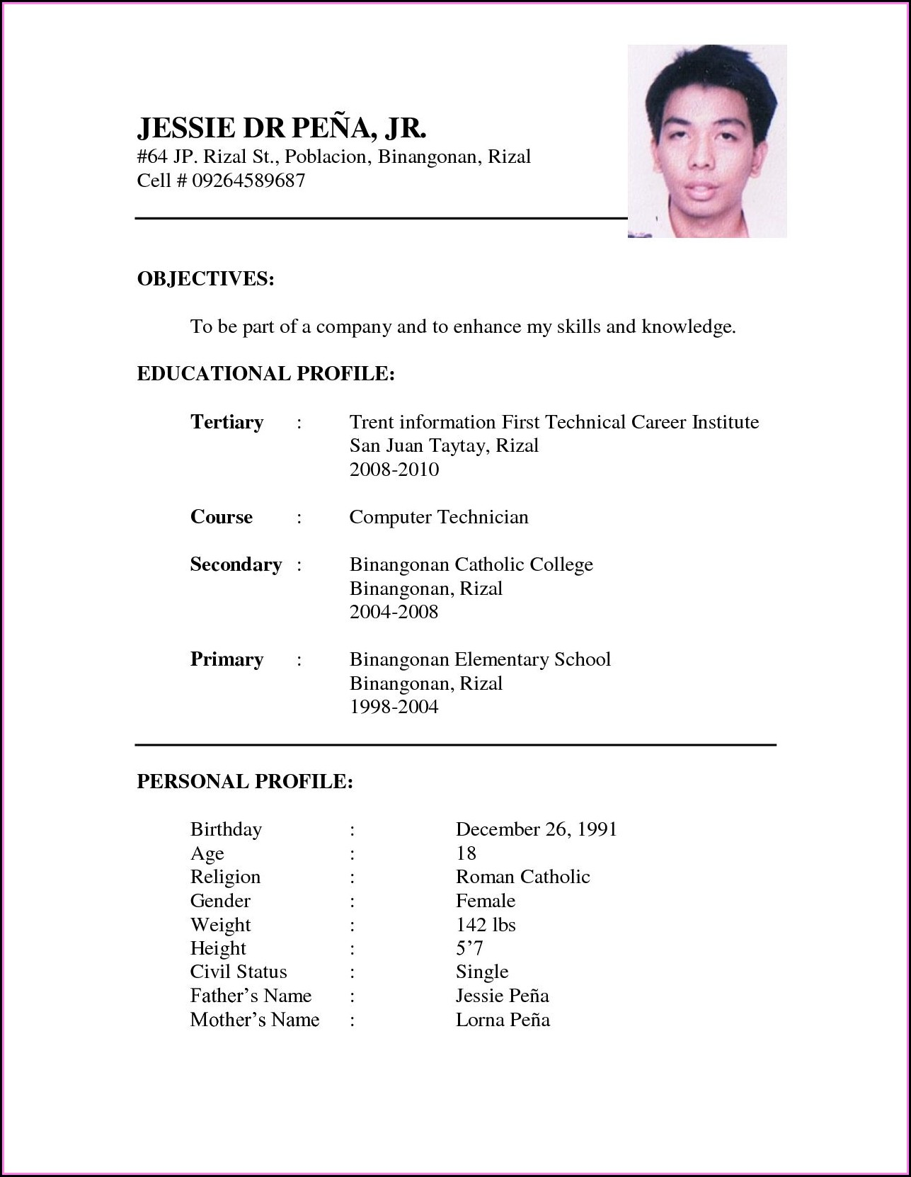 Example Of Job Resume Format