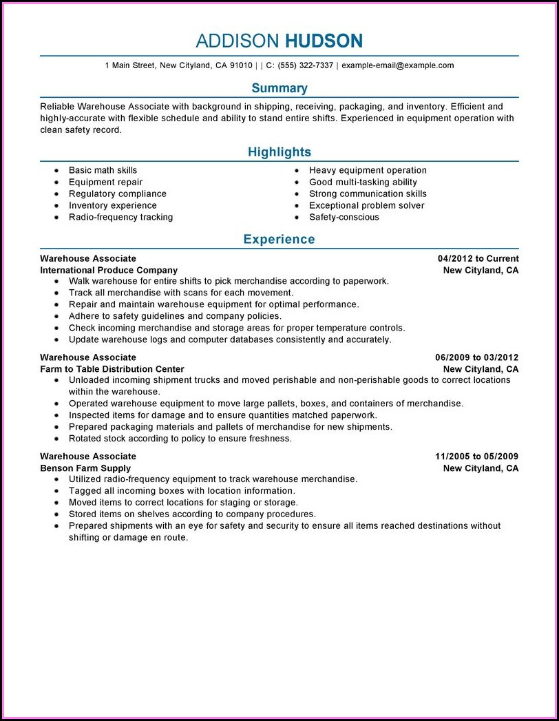 Example Of Warehouse Resume