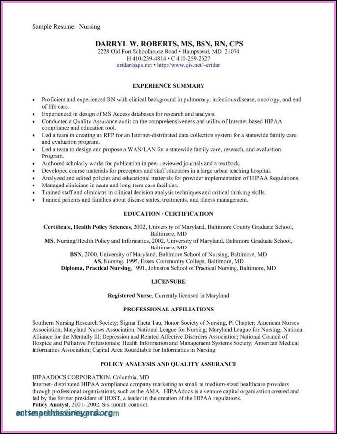 Examples Of Graduate Nurse Resumes