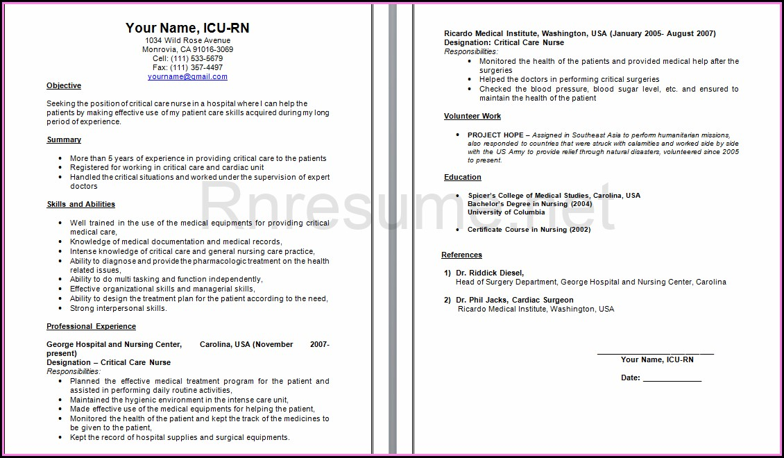 Examples Of Icu Nurse Resumes