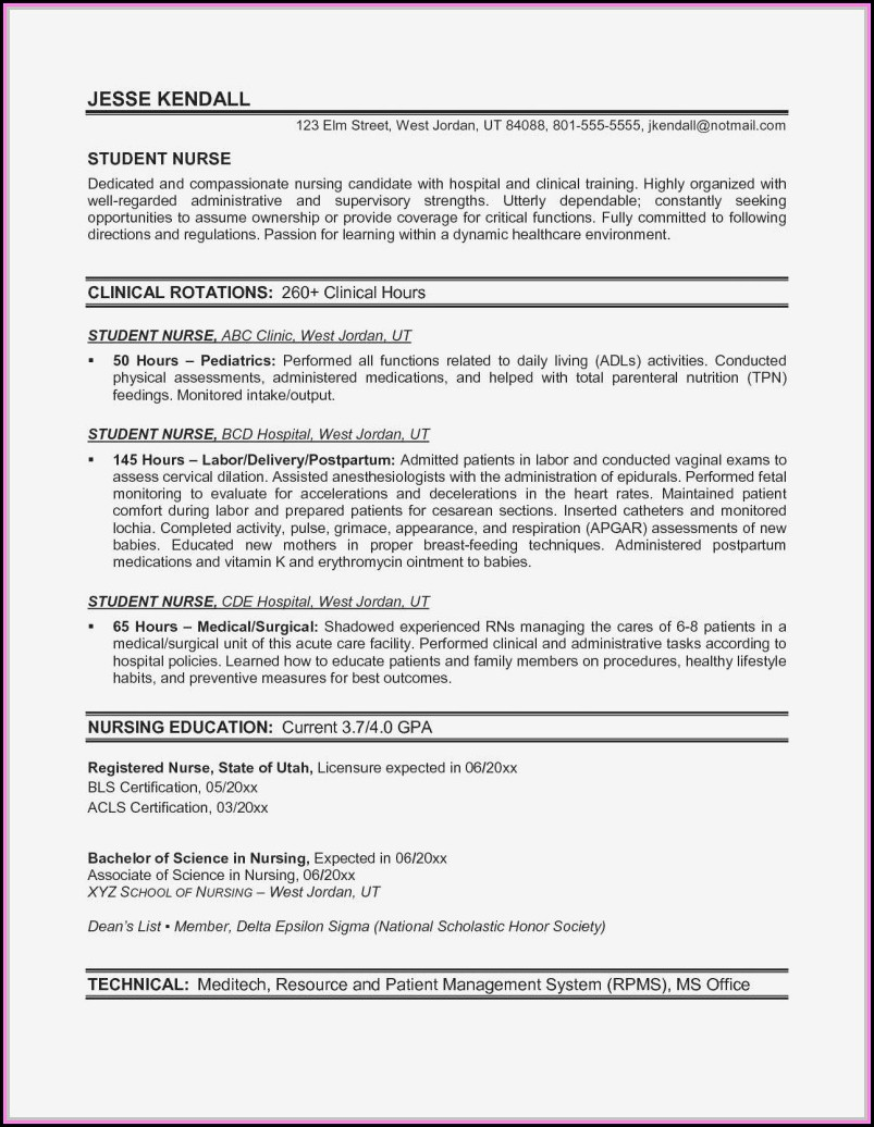 Examples Of Nurses Resumes