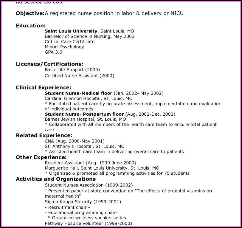 Examples Of Professional Registered Nurse Resume