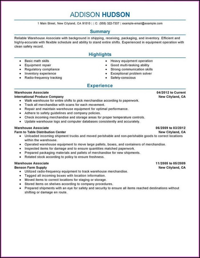 Examples Of Warehouse Resumes