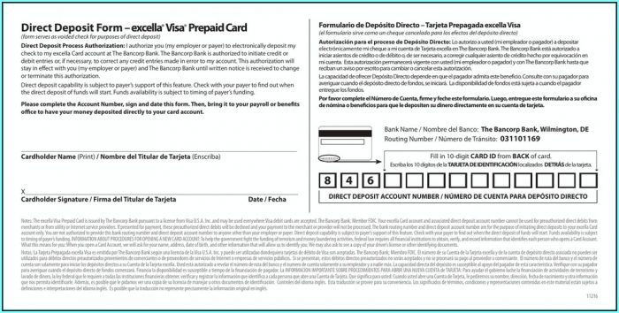 Excella Card Direct Deposit Form