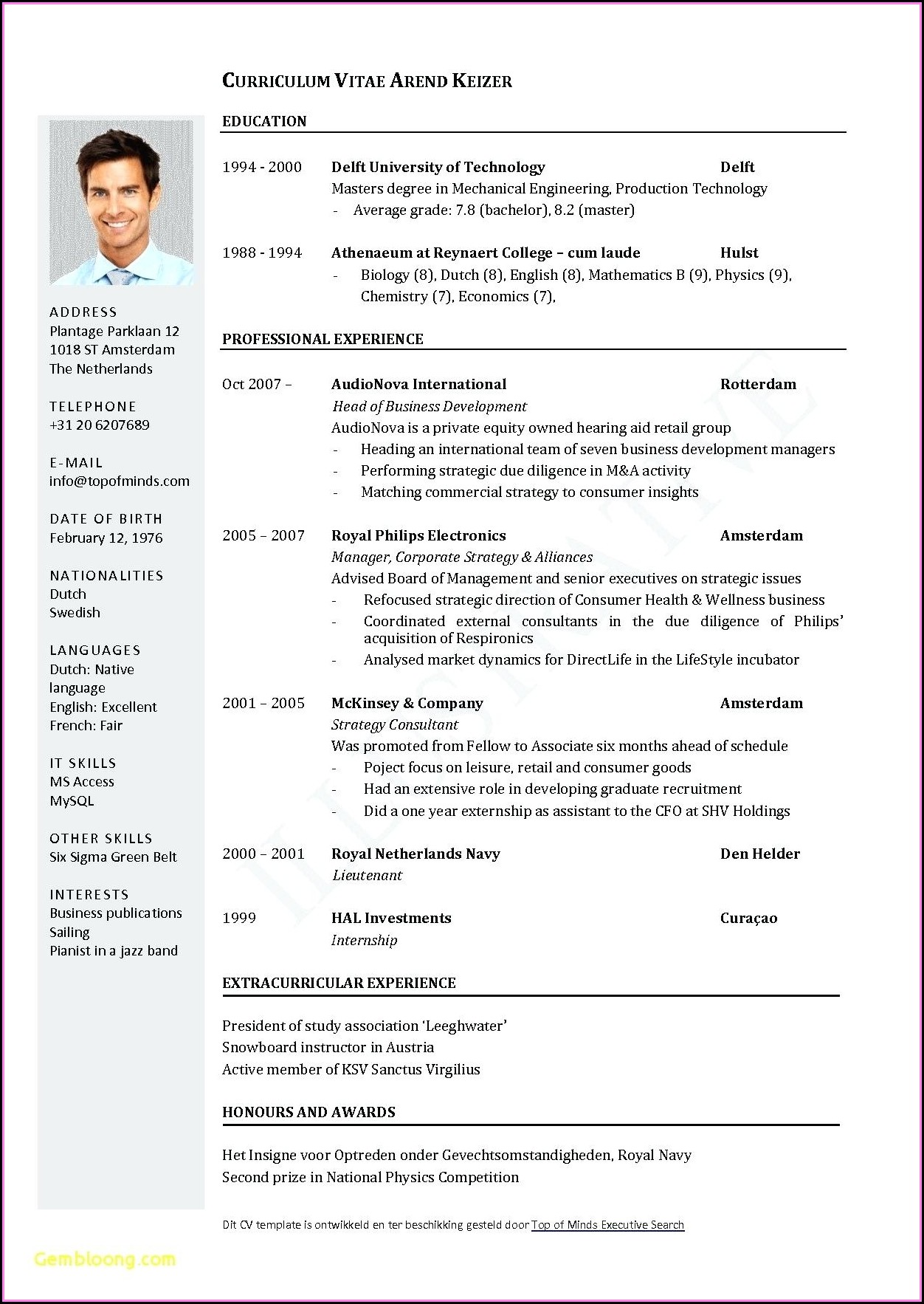 Executive Cv Template Word Download