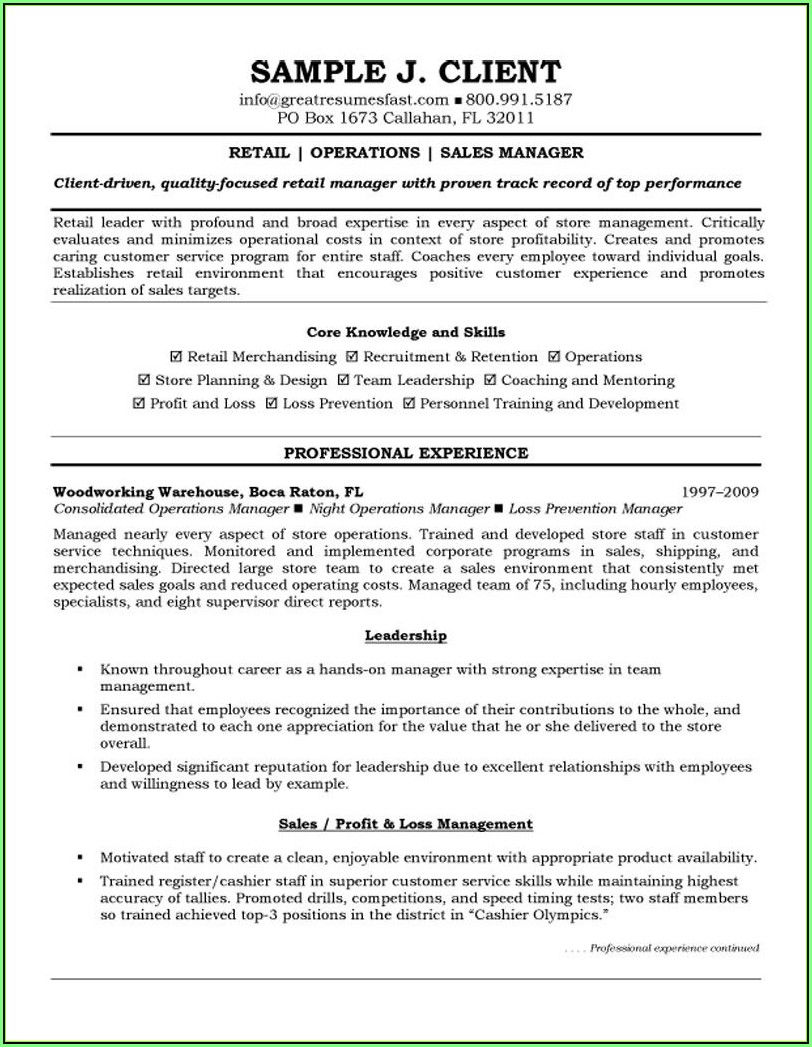 Executive Resume Format Examples