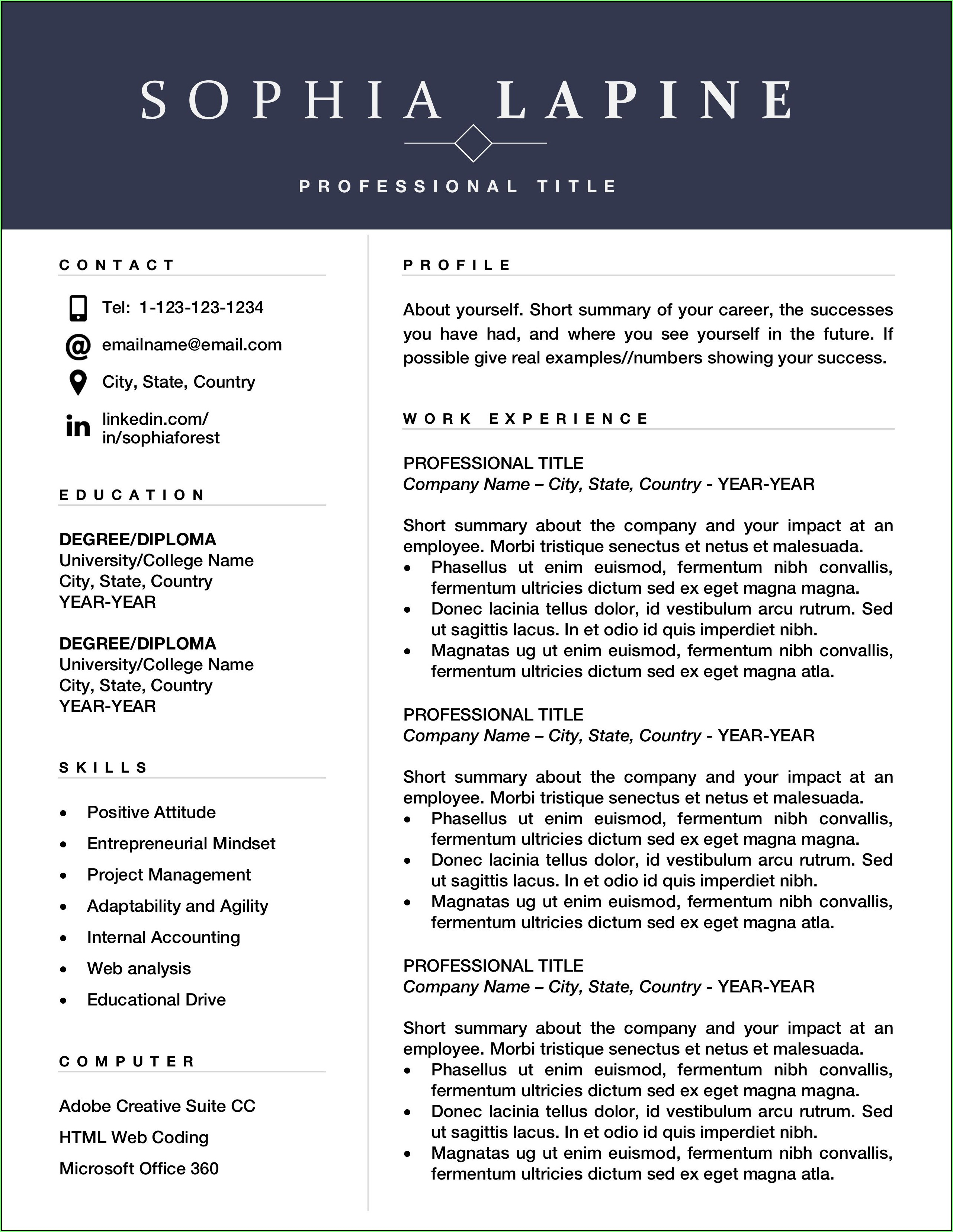 Executive Resume Template Free Download