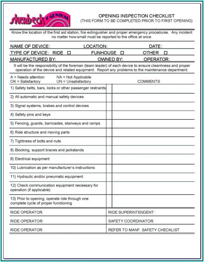 Farm Tractor Inspection Form