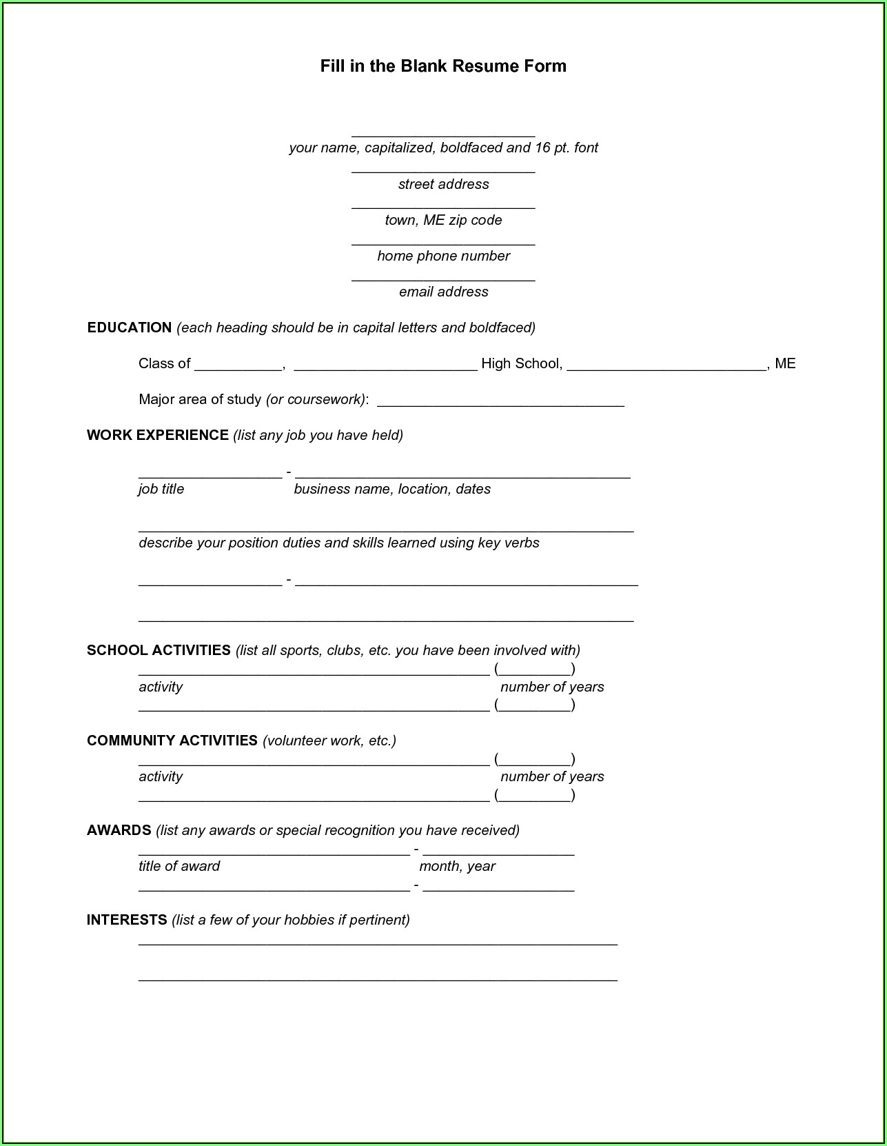 Fill In Resume Templates