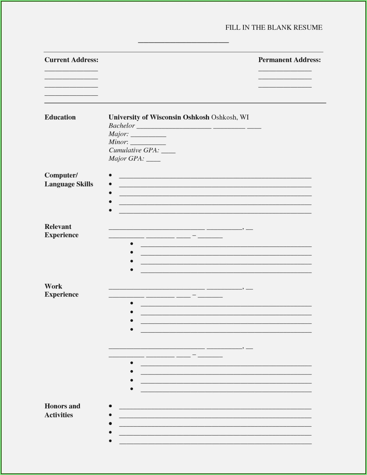 Fill In The Blank Resume Templates