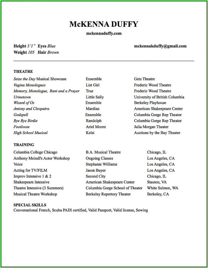 Free Acting Resume Builder
