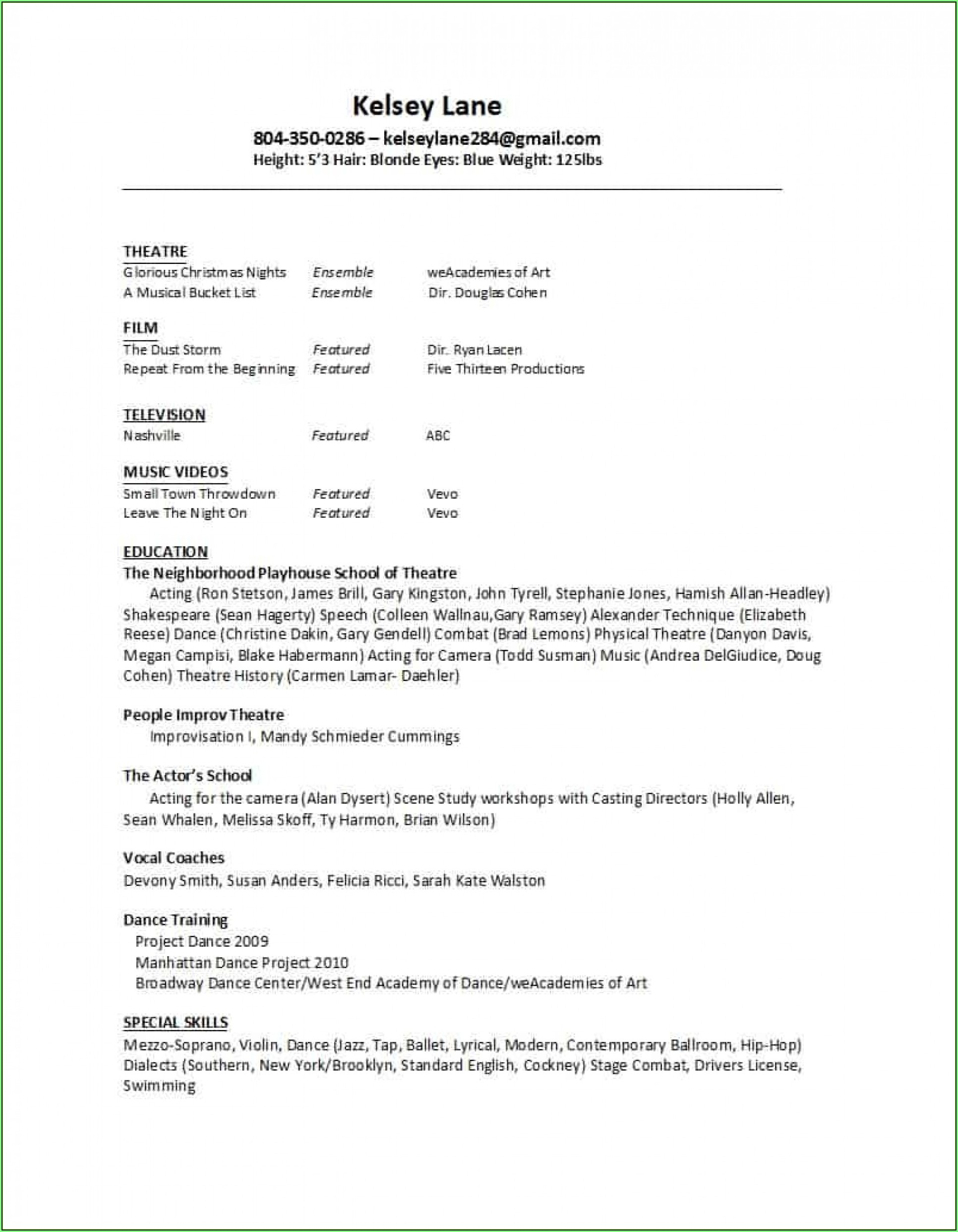 Free Actor Resume Template
