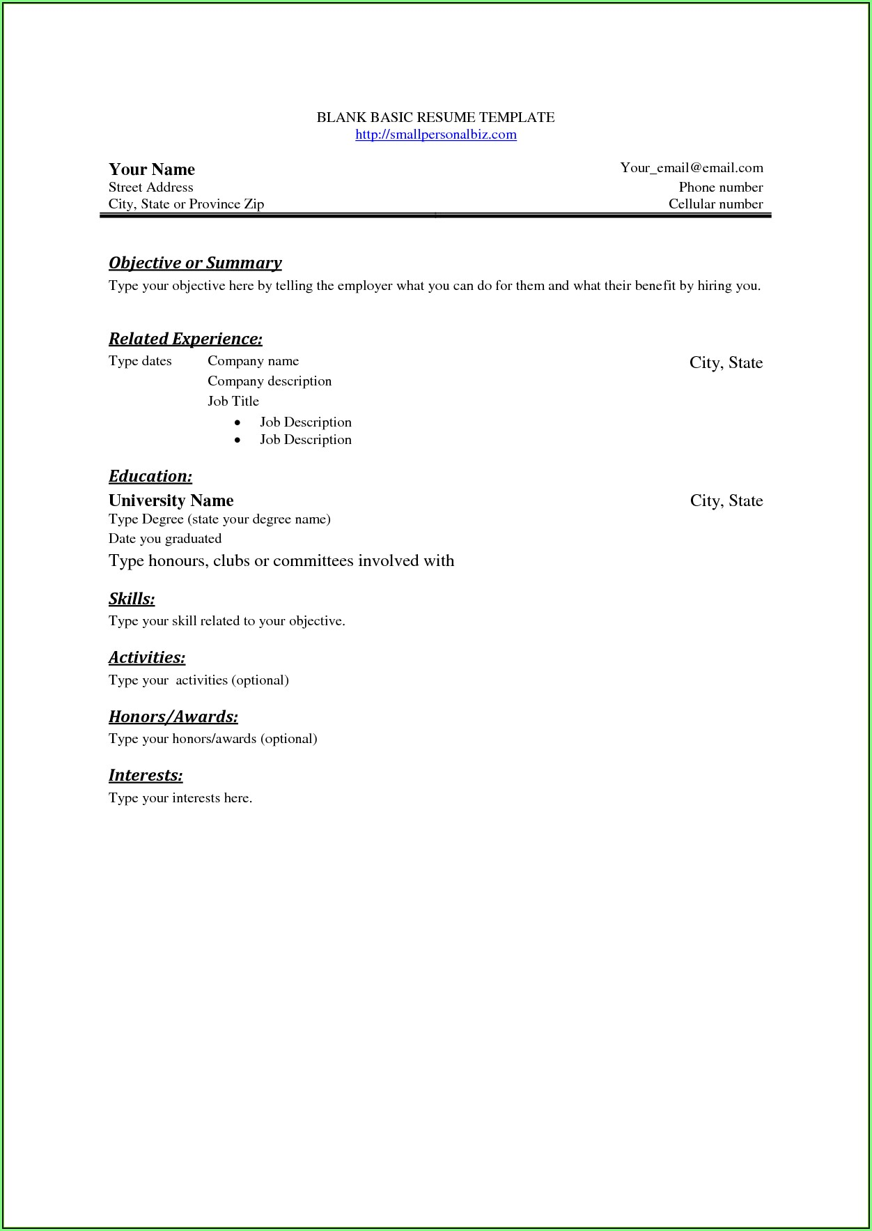 Free Basic Blank Resume Templates