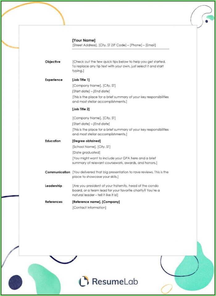 Free Blank Resume Templates Word