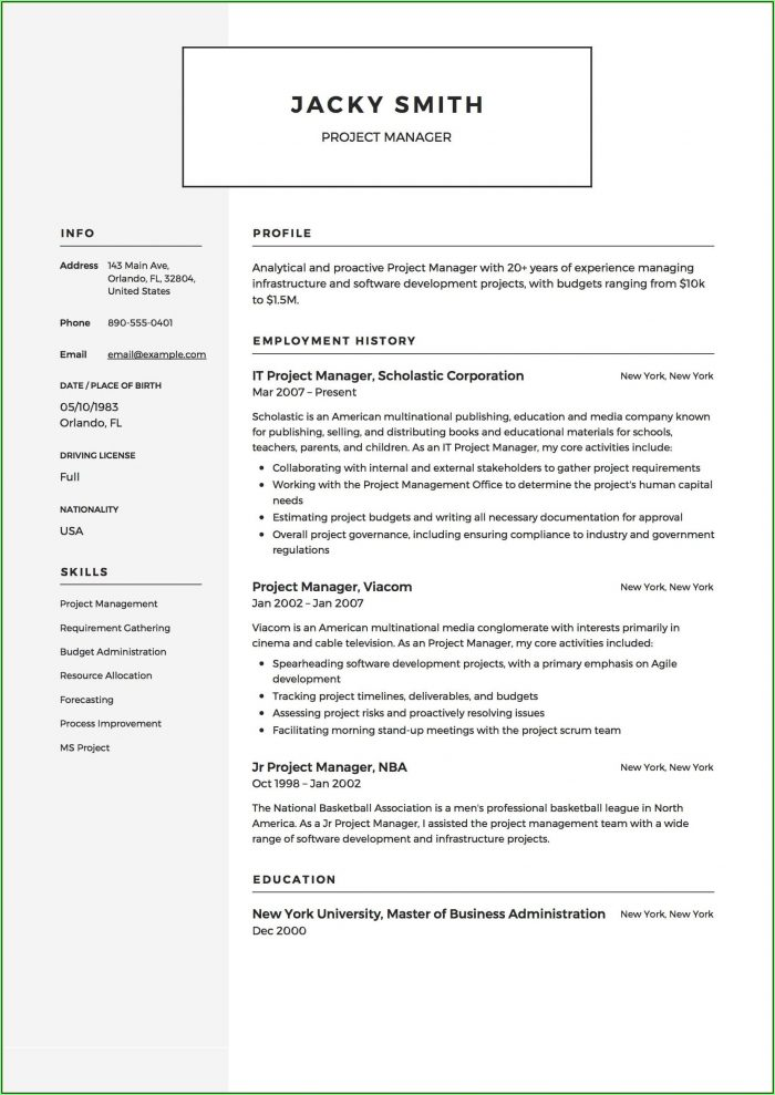 Free Construction Manager Resume Template Microsoft Word