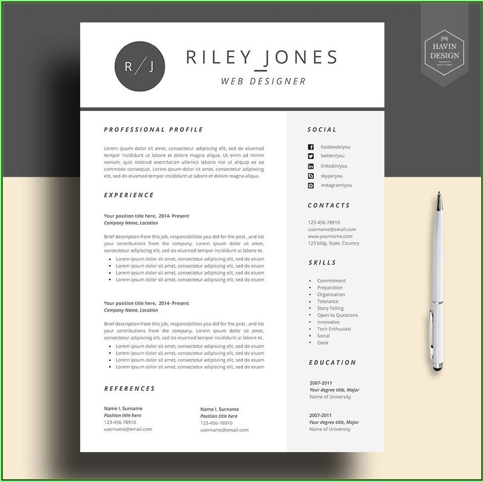 Free Cv Template Download Mac