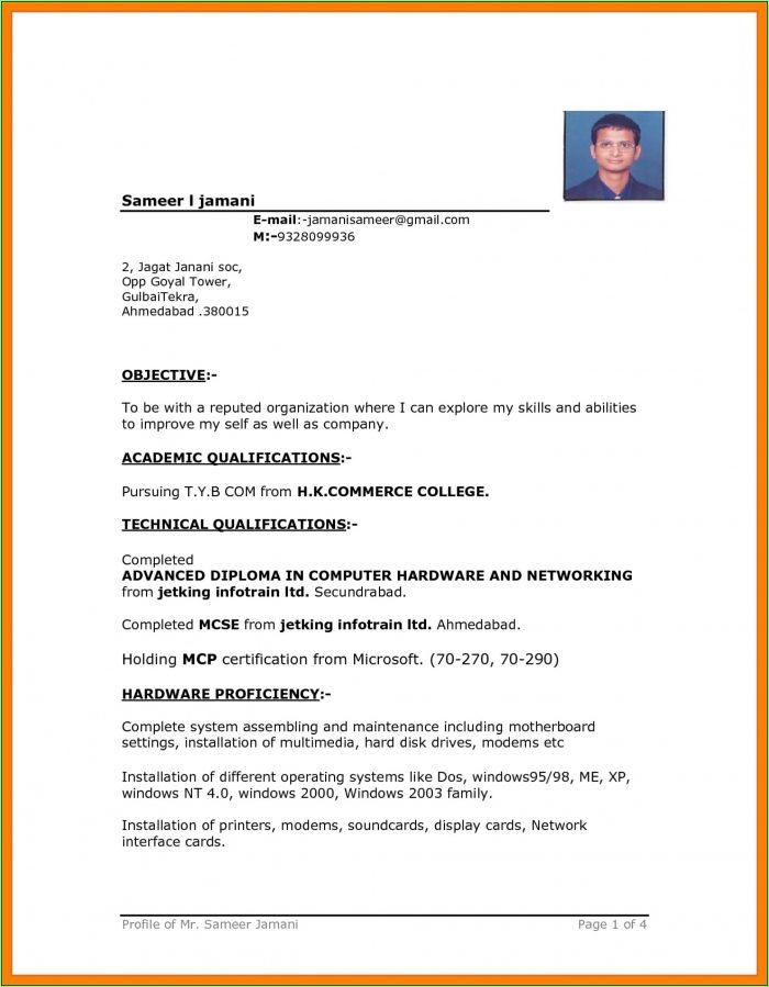 Free Download Resume Format Microsoft Word