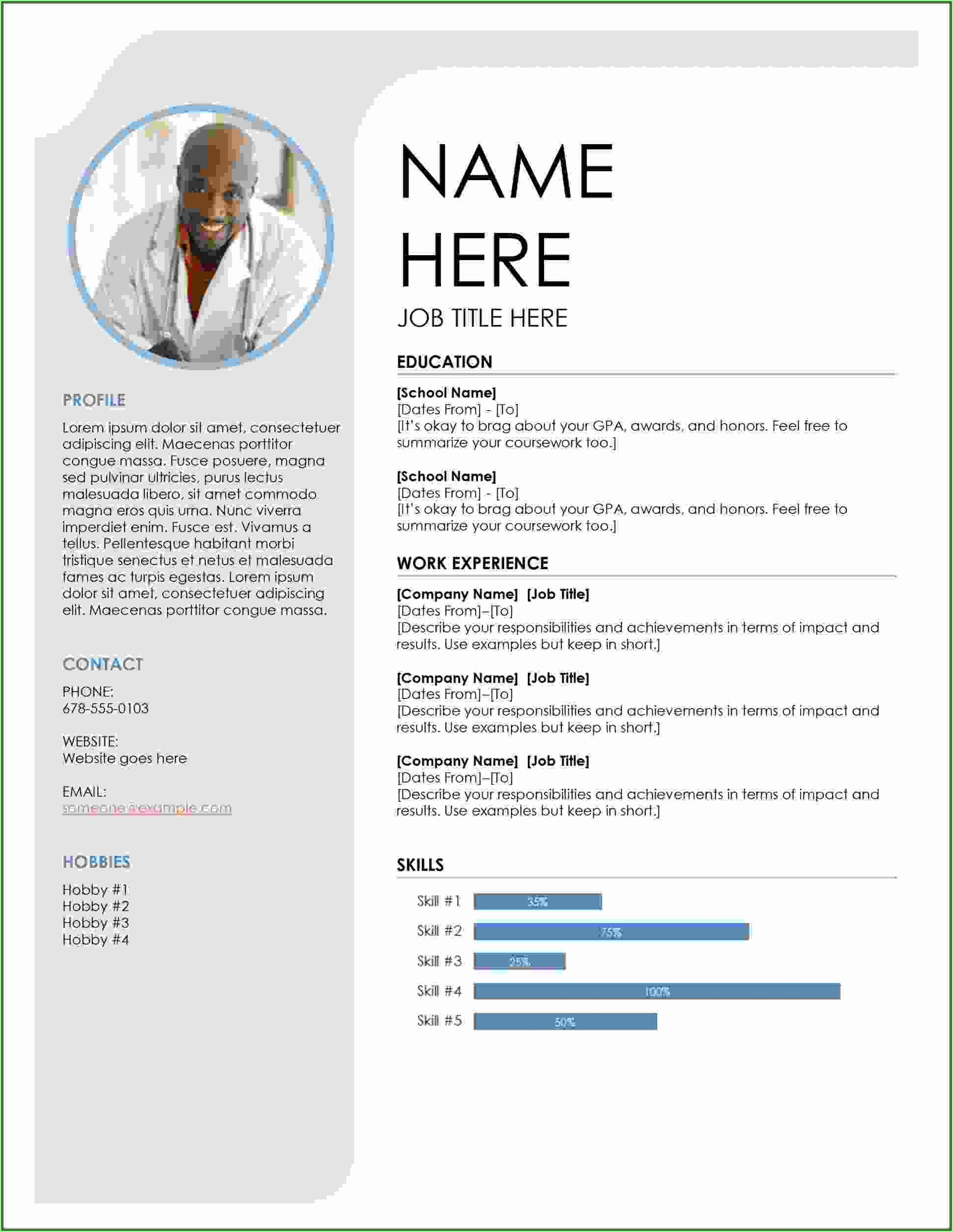 Free Download Resume Templates Microsoft Word
