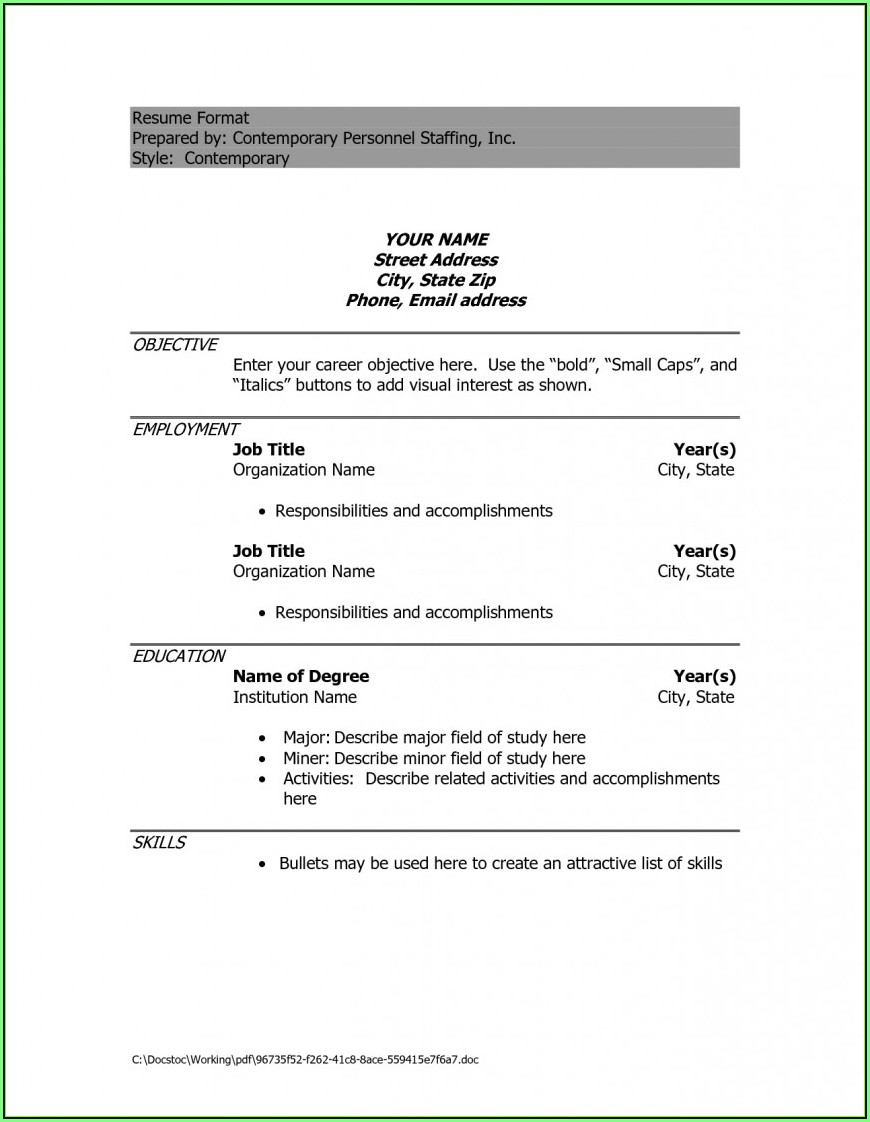 Free Download Sample Resume In Word Format