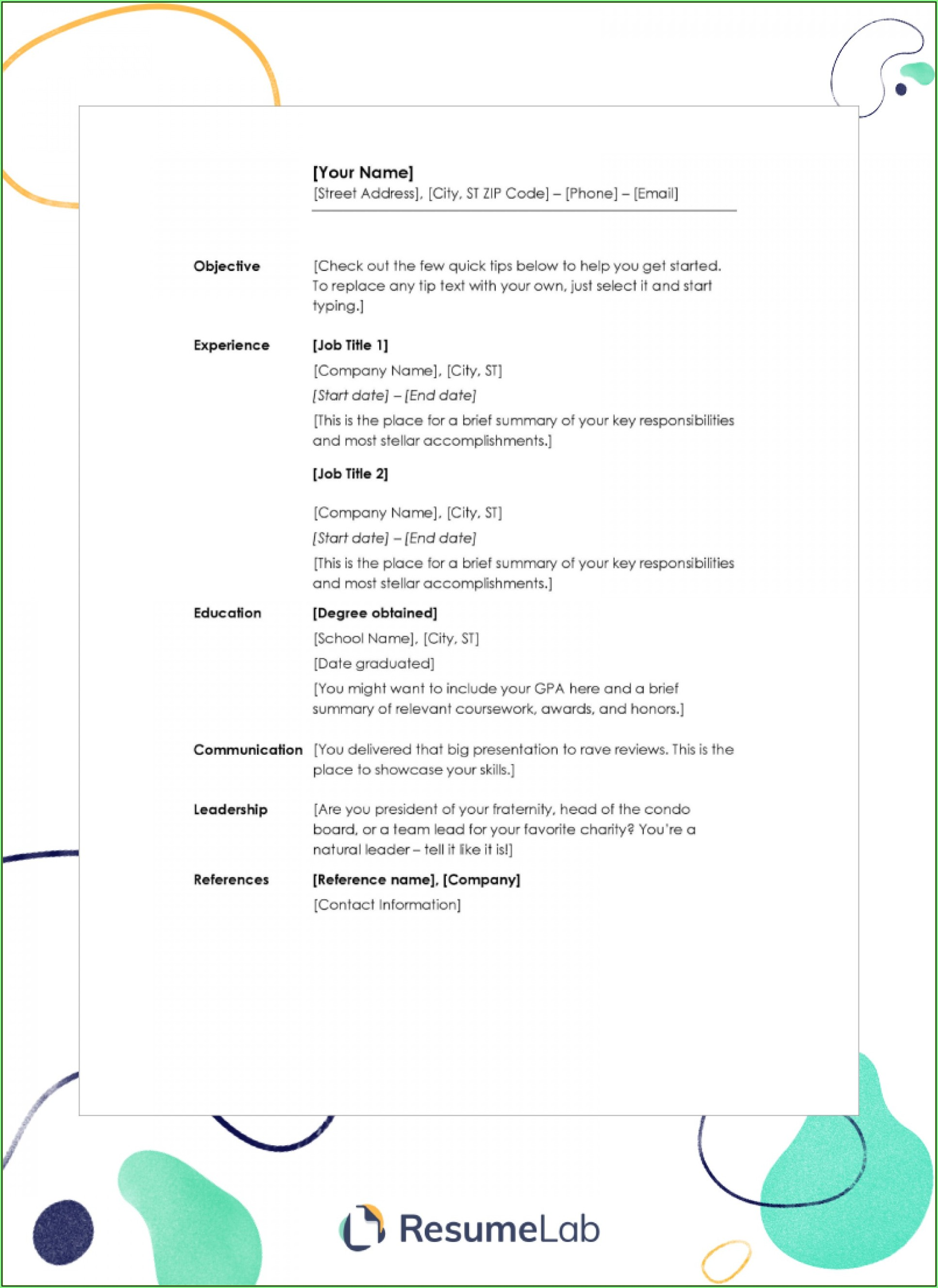Free Downloadable Blank Ms Word Resume Templates