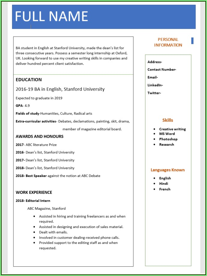 Free Fresher Resume Format Download In Ms Word
