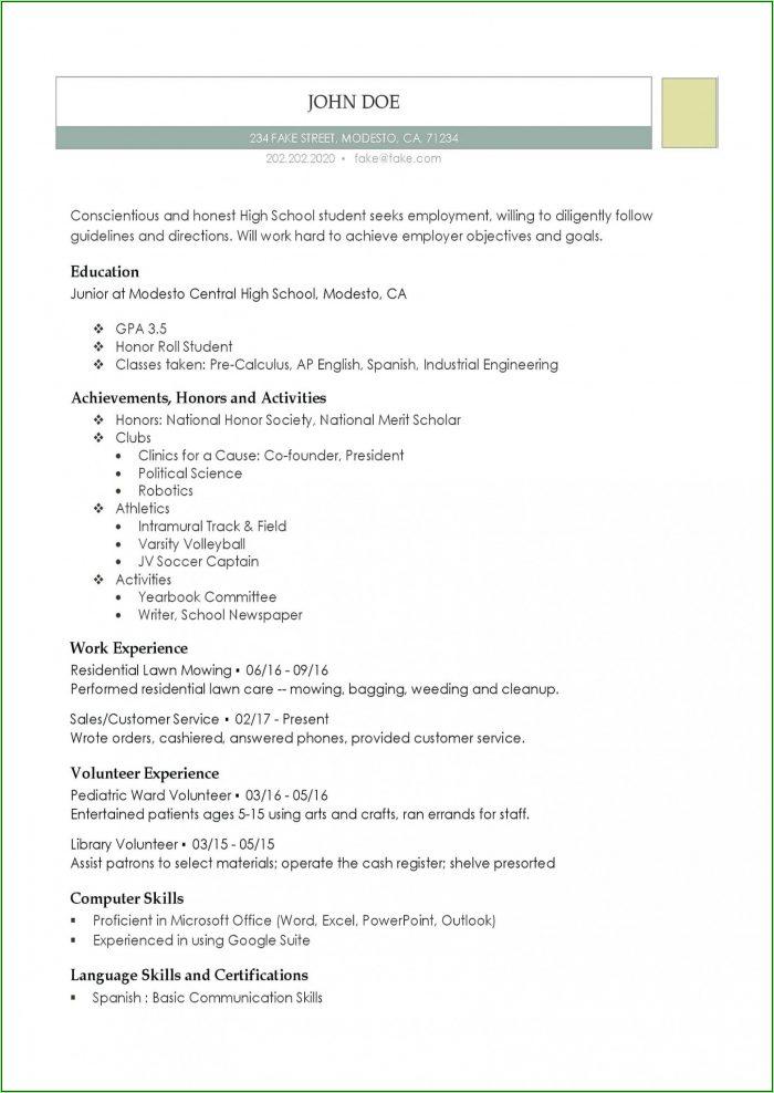 Free High School Resume Template Word