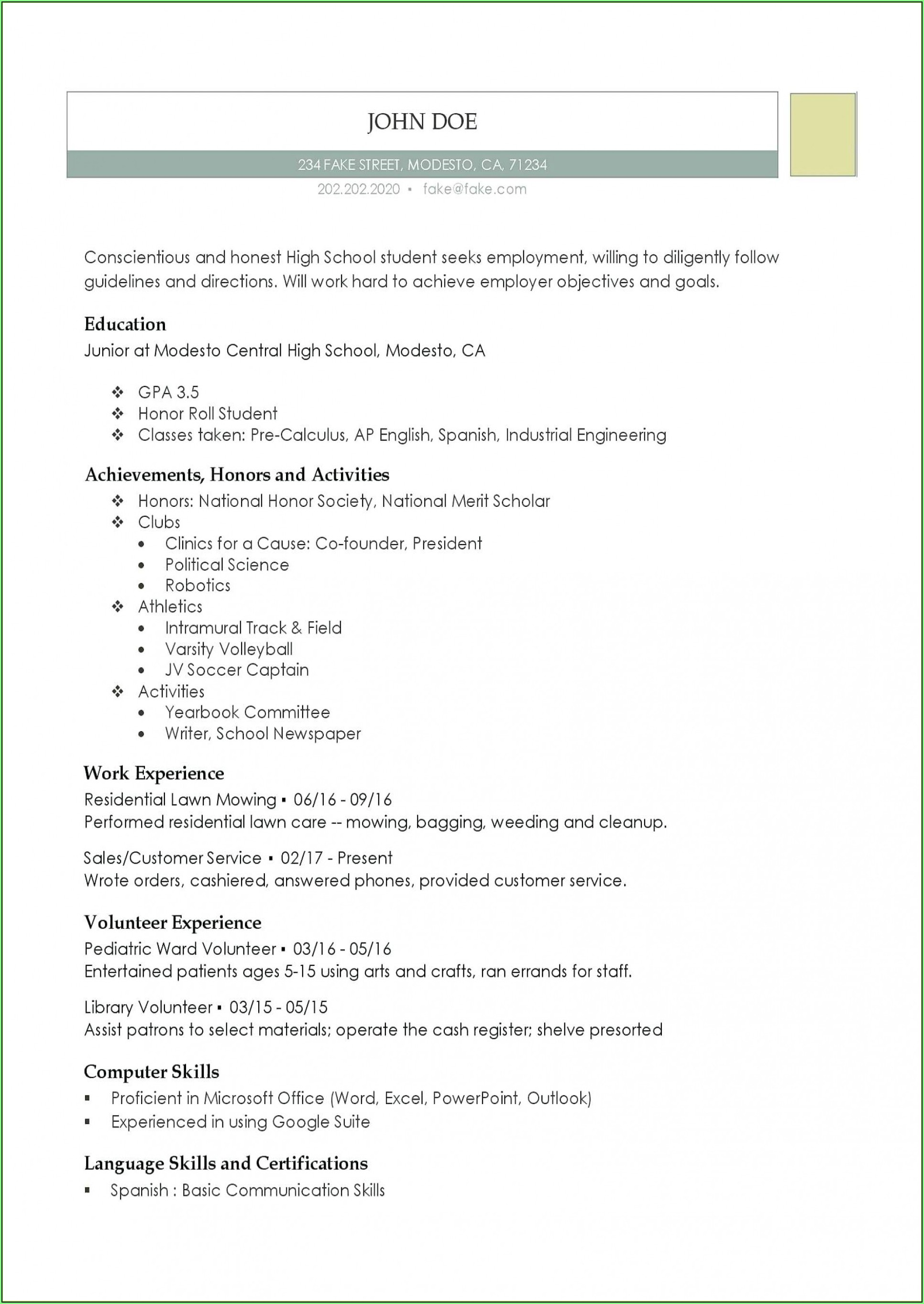 Free High School Resume Template Word