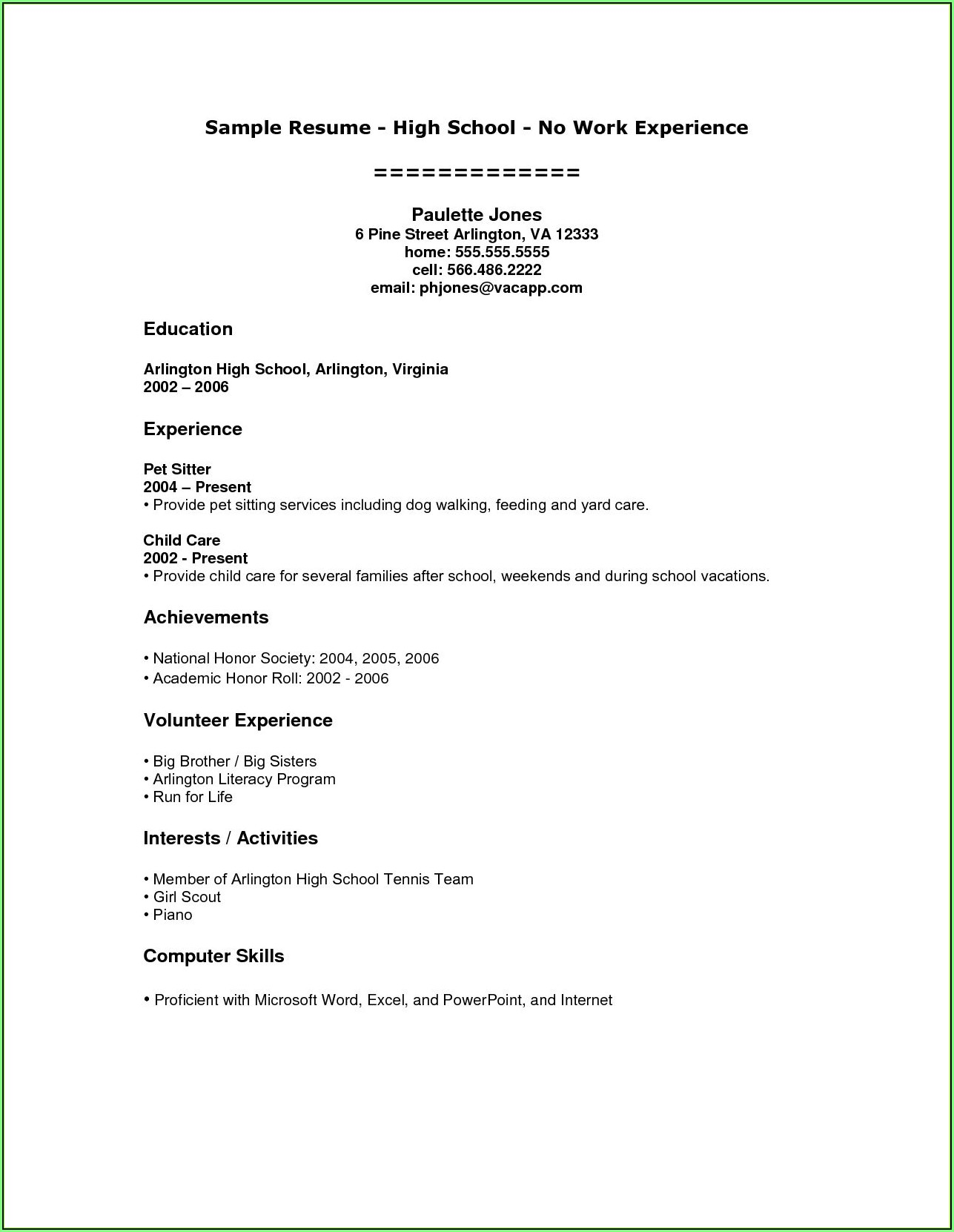 Free High School Resume Template