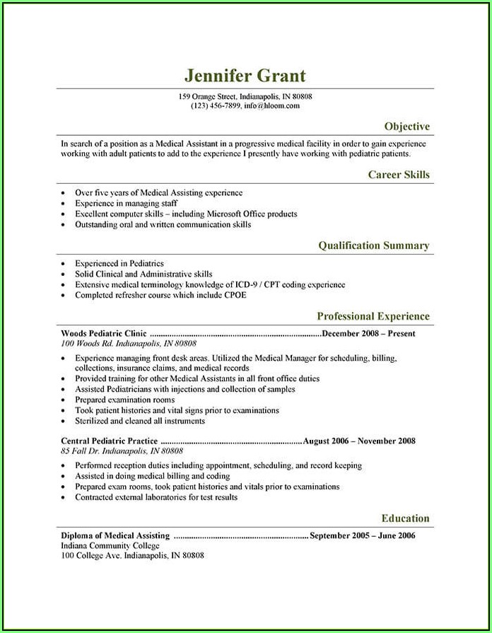 Free Medical Assistant Resume Samples