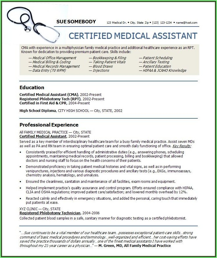 Free Medical Assistant Resume