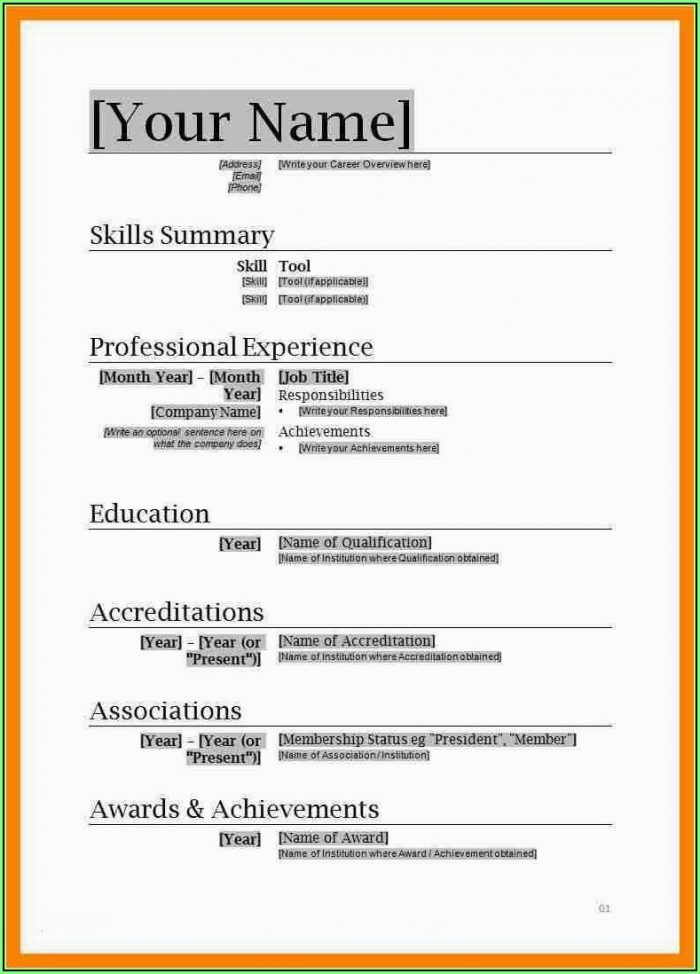 Free Microsoft Word 2007 Resume Templates