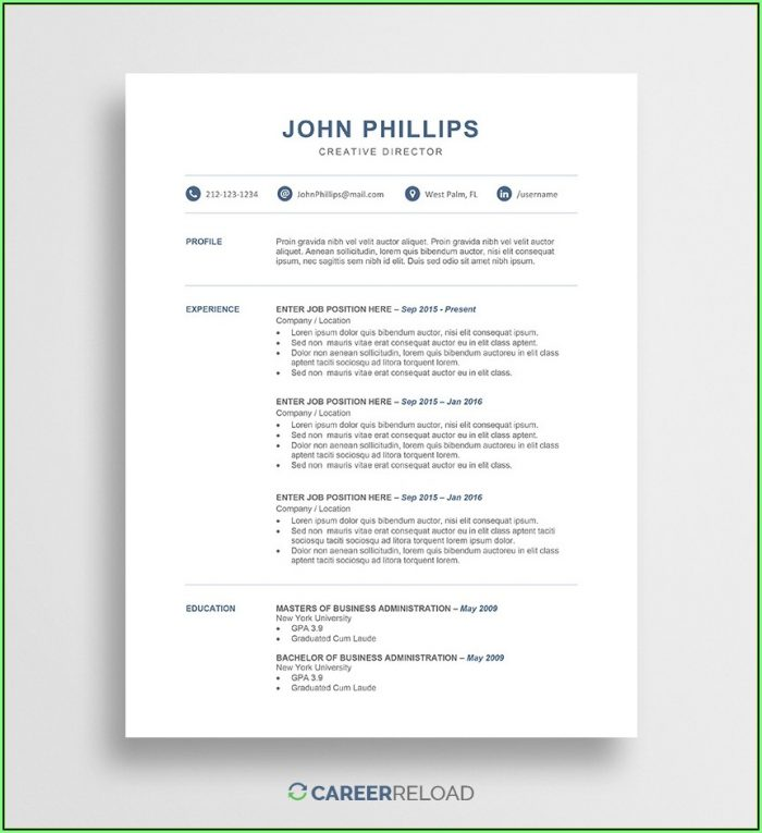 Free Microsoft Word Resume Templates 2017