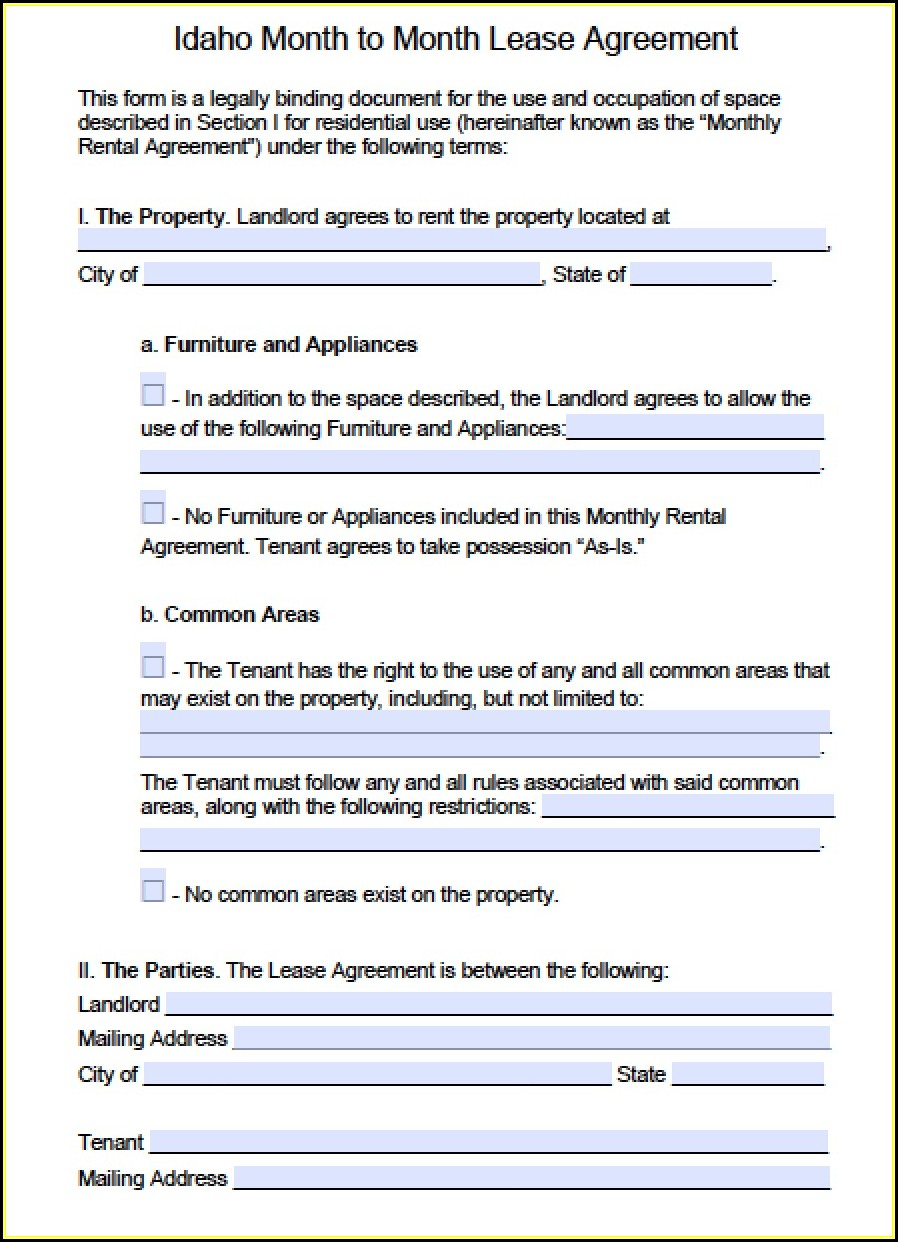 Free Month To Month Rental Agreement Template Word